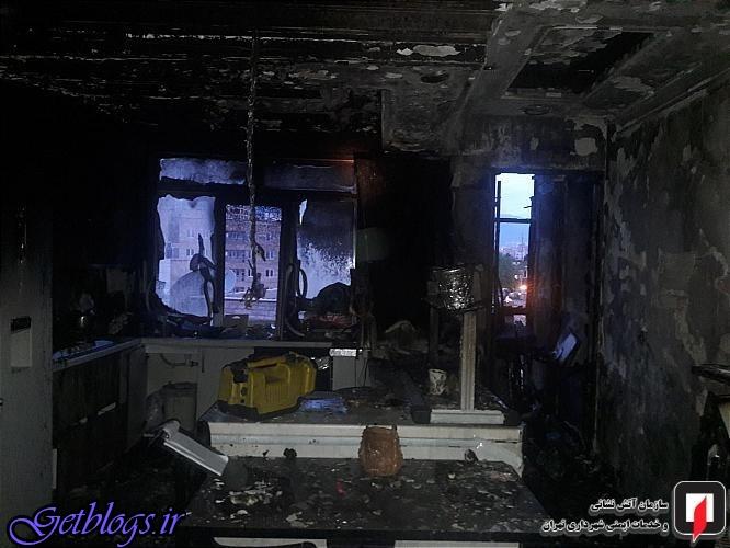 آتشسوزی شدید یک واحد مسکونی در خیابان شریعتی
