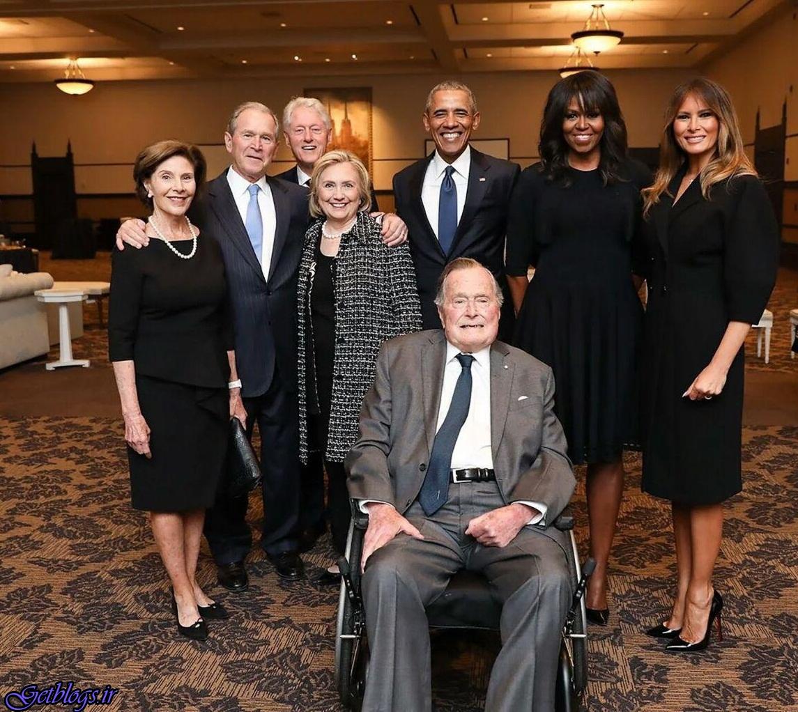 سران فعلی و سابق آمریکا و همسران آنها در یک مراسم ختم (عکس)