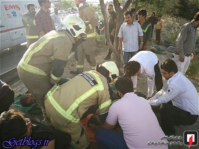 تصاویر) + تصادف خونین پژو ۲۰۶ با ۶ کارگر در بزرگراه بابایی (